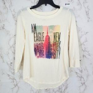 AEO New York City Long Sleeve Tee Shirt Skyline XS